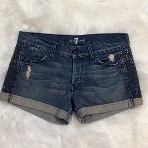7 for all Mankind Studded Cuffed Jean Shorts
